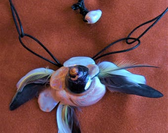 Shell and Feather Necklace