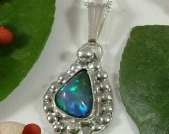 Ethiopian Fire Opal Necklace Sterling Silver Large Gem Statement Necklace Statement Jewelry Blue Green Red Fire 404 G