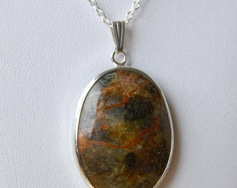 Gold, Green and Brown Pietersite Pendant from Namibia, Africa - 21