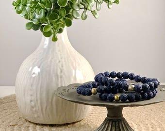 Navy Blue Lava Rock Beaded Bracelet, Navy Blue Lava Rock, Lava Rock Bracelet, Diffuser Bracelet, Essential Oil Bracelet, Diffuser Bead