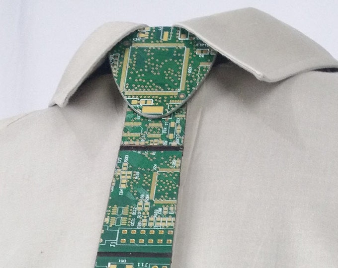 Green and Gold Circuit Board Necktie made with Recycled PCB and Vinyl Banners | PROTOTIE SALE - Limited Quantities - Free Shipping |
