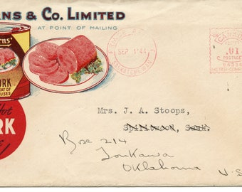 Advertising Cover, Burns & Co. Limited,  Postmark Saskatchewan, Canada, 1844?, 1 Cent Canada Postage, <>#PSY-1183