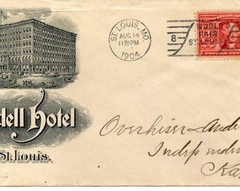 Advertising Cover Lindell Hotel, Postmark St. Louis, MO.,1904, 2 Cent Stamp w/ Image of Jefferson, Worlds Fair St. Louis Cancel<>#PSY-1207