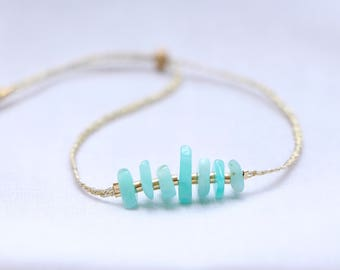 Bracelet AMAZONITE mineral beads, pearls, plated gold 14 k & gold wire (bracelet wrist) and ankle bracelet