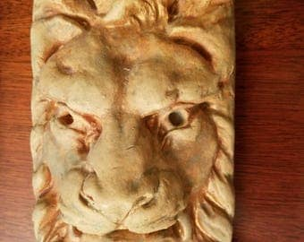 Pair of Plaster Lion Wall Plaques