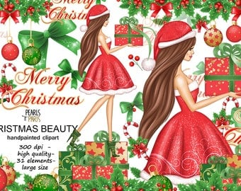 Christmas clipart, winter clipart, new year clipart, christmas girl,PNG, pearlsandparis