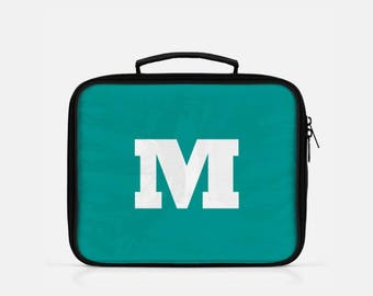 Initial Lunch Box, Teal Lunch Box, Personalized Lunch Box, Monogram Lunch Bag, Cute Lunch Box, Lunch Box for Adults, Reusable Lunch Bag
