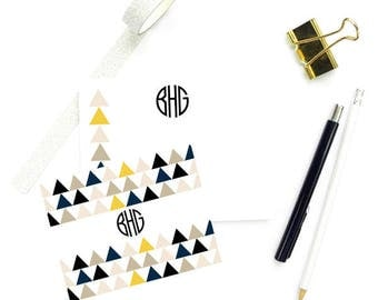 Geometric Stationary Note Cards, Monogram FLAT Note Cards, Custom Stationary, Personalized Notecards Women, SET of 10 Cards with Envelopes