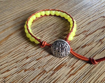 Beaded bracelet, yellow bracelet, leather bracelet, wrap bracelet