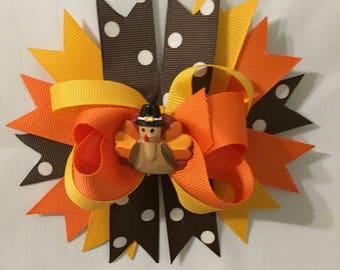 Turkey Embellished Thanksgiving Hair Bow