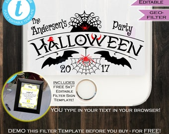 Halloween Snapchat Geofilter- Bat Costume Party Filter- Spooky October Party Phone Filter Personalize Custom Digital INSTANT Self EDITABLE