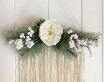 40% OFF SALE - Winter white berry and floral wall hanging - yarn - christmas decor - holiday tapestry