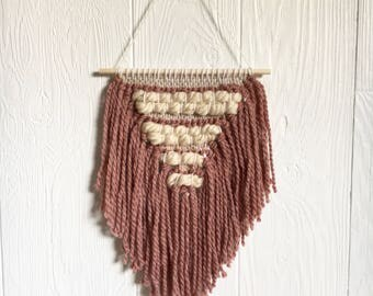 Handmade woven wall hanging - geometric - mauve / dusty pink / cream / beige - fringe - wool and cotton fiber - girl nursery