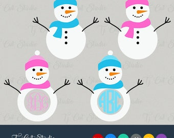 Snowman SVG, Christmas SVG, Christmas Snowman svg Circle Monogram, Svg Files for Silhouette Cameo or Cricut Commercial & Personal Use