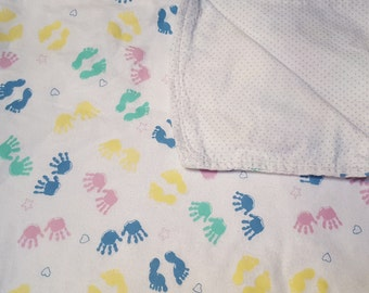 Baby Blanket, Snuggle Flannel, Boy or Girl, With Hand & Foot Prints