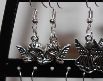 Cherub charm earrings