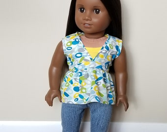 Top for 18 inch dolls such as American Girl Dolls