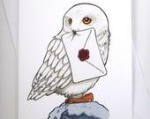 Harry Potter Card, Hedwig Card, Birthday Card, Fun Card, Greeting Card, Harry Potter Art, Harry Potter Birthday