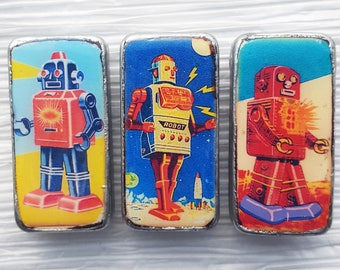 "FUTURISTIC ROBOTS Domino Magnets, set of 3, 1""x2"", Altered Dominoes, Refrigerator Magnets"