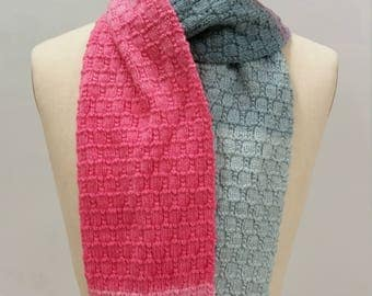 Handknit scarf in shades of pink/lavender/grey 34