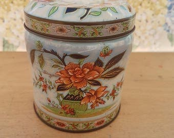 Vintage tin, Scribbans Kemp chocolate table fingers. Oriental, floral design