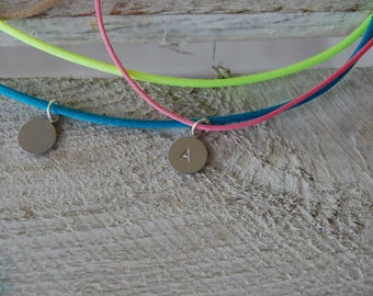 Silk cord necklace and personalized medal / pendant / charm