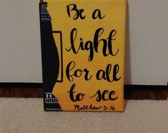 Be a Light - Matthew 5:16 Canvas // Scripture Wall Art