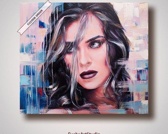 Contemporary portrait from photo custom painting abstract modern oil girl woman children commission personalized
