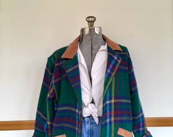 VTG Fox Run Plaid Jacket with Suede Detail