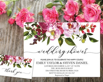 Wedding shower invitation, Printable Wedding Shower Invitation, Couples Shower Invite, flower wedding shower invitation instant download, B8