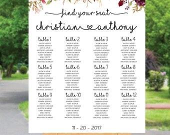 Wedding seating chart template, wedding seating chart poster, Wedding seating chart alphabet, Boho wedding seating chart, SC98-B