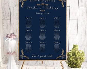 Wedding seating chart template, wedding seating chart poster, Wedding seating chart alphabetical, Navy Seating chart, Seating chart,  SC134