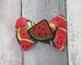 Summer Watermelon Scented  Dog Bow Tie, Dog clothing, Doggy Bow Tie, Puppy Bow Tie, Detachable Bow Tie, Slip on bow tie
