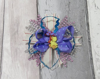 Duck in the Rain stacked boutique hair bow, hair accessory, girl bow, hair clip, clip in hair bow, stacked bow, boutique bow
