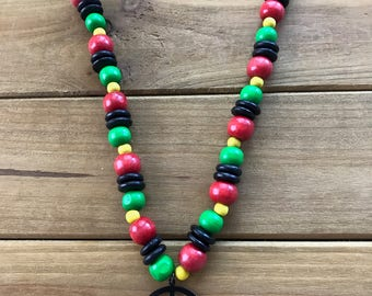 Wood Beaded Peace Necklace
