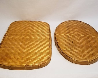 Vintage Lot of 2 Matching Wicker Trays, Oval & Rectangle