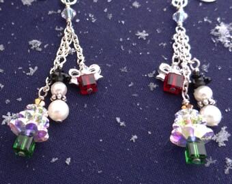 Sterling Silver and Swarovski Christmas Earrings, Unique Handmade Christmas Earrings, Dangle Christmas Earrings, Holiday Earrings