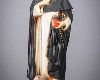 "10"" RARE Saint Dominic de Guzmán Polychromed Plaster Statue Vintage St Figure"
