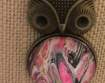 Whoooo wouldn't love this  hand painted pink, black and white abstract art owl in an antique brass pendant?