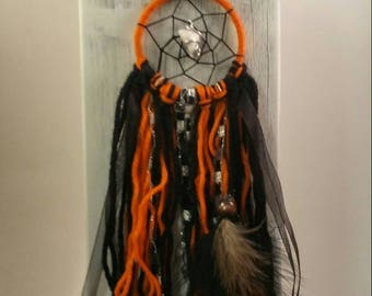 Boho Dream Catcher, Unique Fall Colors, Howlite Crystal, Hand Wrapped Silver, Small Dream Catcher, Healing Stone, Holistic Lifestyle, Native