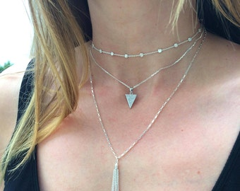 Silver Triangle Necklace, Minimalist necklace, Triangle pendant, Arrow pendant, Layering necklace , Dainty necklace, Sterling necklace