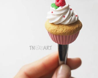 Raspberry Cupcake Sweet tasty spoon with decor from polymer clay tea spoon handmade dessert sweets berries