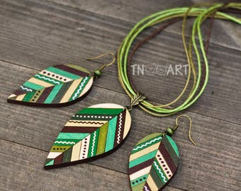 Wooden Leaves Earring Pendant Set/ handmade jewelry wood earrings hand painted leaf ethnic style nature natural colors green brown