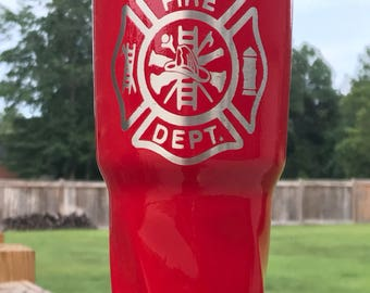 Firefighter Powder Coated Yeti/Insulated Tumbler/Powder Coat/Red Yeti/Birthday Gift/Glitter Yeti/Custom Yeti/Yeti Cup/Firefighter Red