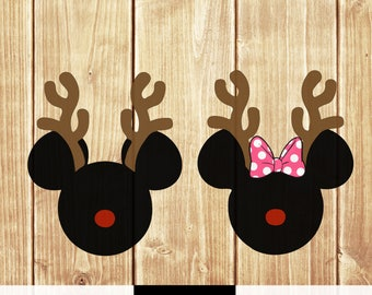 Mickey Minnie Mouse Reindeer Christmas svg png Vector Cut File digital download boy girl shirt silhouette holiday winter merry christmas svg