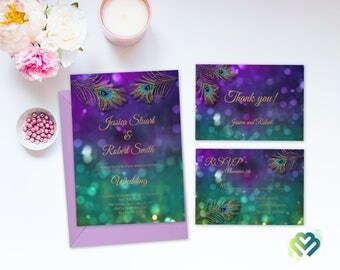 Purple Gold Peacock Wedding Invitation Set Feather Invite Suite Printable Digital