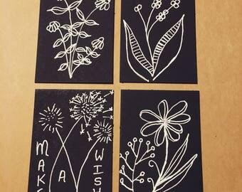 Botanical Line Drawing Magnets (Set of 4)