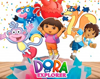 8 Dora The Explorer Centerpieces Double-Sided/ Dora The Explorer Cake Toppers/ Big inch + Small inch/ Dora The Explorer Party/ Printable