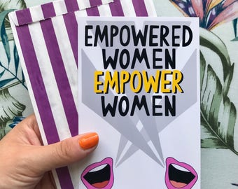 Illustrated 'Empowered Women Empower Women' Feminist Digital Art Print