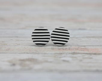 Striped earrings, Matte black and white earrings, Black and white stripe studs, Everyday earrings, White stripes, Gift for her, Gift for him